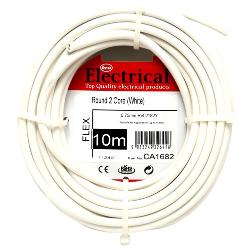 Best Electrical  Round 2 Core PVC Flex Cable 0.5mm - White
