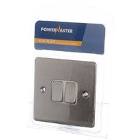 Powermaster  2 Way Chrome Switch - 2 Gang