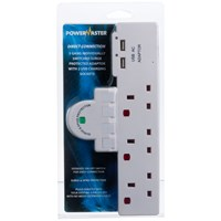 Powermaster  3 Way Switched Adaptor c/w Surge USB